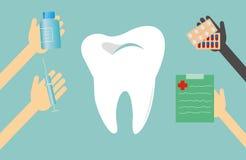 Vector illustration. Dentist treats teeth. Royalty Free Stock Images