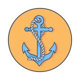 Circle Banner Depicting Anchor with Rope Around it Royalty Free Stock Photos