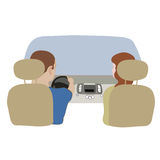 Vector illustration depicting a driver and  passenger in the car from behind. Stock Photography