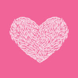 Vector illustration depicting a heart of white feathers on a pink background Stock Photography