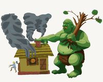 Big and scary Troll goes to visit, illustration stock illustration