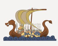 Vector illustration depicts a Viking warship. Folks gathered in a predatory expedition to distant shores stock illustration