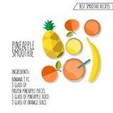 Vector Illustration der Ananas Smoothie-Rezepthand, die in f gezeichnet wird Lizenzfreies Stockbild