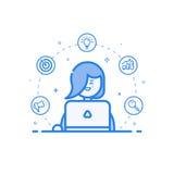 Vector Illustration der blauen Ikone in der flachen Linie Art Lineare nette und glückliche Frau mit Laptop Lizenzfreie Stockfotografie