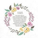 Vector Illustration der Blumenkranzschablone im flachen Designschweinestall Lizenzfreies Stockbild