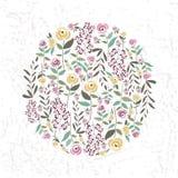 Vector Illustration der Blumenschablone in der flachen Designart mit Stockfotografie