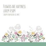 Vector Illustration der Blumenschablone in der flachen Designart mit Lizenzfreies Stockbild
