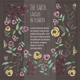 Vector Illustration der Blumenschablone in der flachen Designart mit Stockfoto