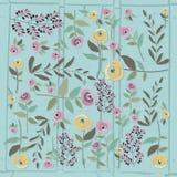 Vector Illustration der Blumenschablone in der flachen Designart mit Lizenzfreie Stockfotos
