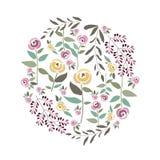 Vector Illustration der Blumenschablone in der flachen Designart mit Lizenzfreie Stockbilder