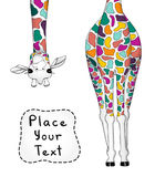 Vector Illustration der bunten Giraffe mit Platz für Ihren Text stock abbildung