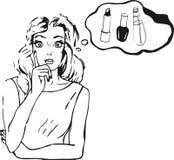 Vector Illustration der denkenden Frau im komischen Schweinestall der Retro- Pop-Art Stockfotos