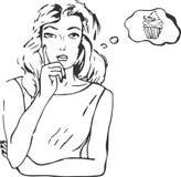Vector Illustration der denkenden Frau im komischen Schweinestall der Retro- Pop-Art Lizenzfreie Stockbilder