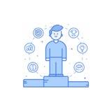 Vector Illustration in der flachen mutigen linearen Art mit Jungen und blauen Ikonen Stockfotografie