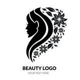 Vector Illustration der Frau mit dem schönen Haar und den Blumen - Lizenzfreies Stockbild