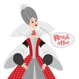 Vector Illustration der glücklichen Karikaturkönigin mit einer Spracheblase Königliche Angebotikone Stockbild