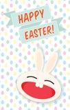 Vector Illustration der glücklichen Osterhasen-Grußkarte Lizenzfreie Stockfotos
