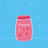 Vector Illustration der glücklichen Valentinsgruß ` s Tageskarte Übergeben Sie gezogenes Glas oder Flasche mit Liebeskomponenten  Stockfoto