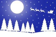 Vector Illustration der Heiliger Nacht im Winterwald. Lizenzfreie Stockbilder