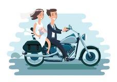 Vector Illustration der Heirat von den jungen Paaren, die das Motorrad auf Weiß lokalisierten Hintergrund reiten Lizenzfreie Stockfotos