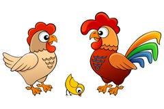 Vector Illustration der Henne, des Hahnes und des Kükens Stockfotografie