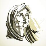 Vector Illustration der jungen eleganten Frau, Kunstbild Schwärzen Sie Lizenzfreies Stockbild