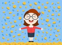 Vector Illustration der jungen Geschäftsfrau, die unter dem Geldregen steht Stockfotografie