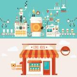 Vector Illustration der Kaffeefabrik, Kaffeeindustrie Stockfoto