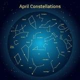 Vector Illustration der Konstellationen des nächtlichen Himmels im April Stockfotografie
