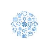 Vector Illustration der kreisförmigen blauen Ikone in der flachen Linie Art Konzept des Entwurfes des Geschäfts, beginnen oben, M Stockfotos