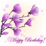 Vector Illustration der Magnolie und des alles Gute zum Geburtstag der Wörter lizenzfreie abbildung