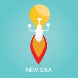 Vector Illustration der neuen Idee, beginnen Sie oben, Birne Lizenzfreie Stockbilder