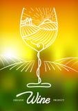 Vector Illustration der Rebtraube und des ländlichen Feldes im Weinglas Konzept für Bioprodukte, Ernte, gesundes Lebensmittel, We lizenzfreie abbildung