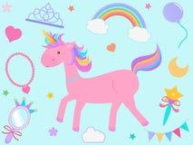 Vector Illustration der rosa Einhornkarikatur mit nettem Pastell-ele Lizenzfreie Stockfotografie