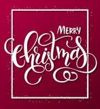 Vector Illustration der roten Weihnachtsgrußkarte mit Rechteckrahmen und Handbeschriftungsaufkleber - frohe Weihnachten Lizenzfreie Stockfotos