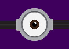 Vector Illustration der Schutzbrille mit einem Auge auf Purpur Stockbilder