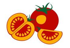 Vector Illustration der Tomate, über weißem Hintergrund Lizenzfreie Stockbilder