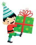 Vector Illustration der Weihnachtselfe mit gestreiftem Hut und der Strümpfe, die ein großes Geschenk mit einem Bogen für die Feie stock abbildung