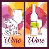 Vector Illustration der Weinflasche, des Glases, der Niederlassung der Traube und des c Lizenzfreie Stockbilder