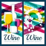 Vector Illustration der Weinflasche, des Glases, der Niederlassung der Traube und des c Stockfoto