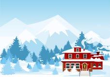 Vector Illustration der Winterlandschaft mit den Bergen und rote Farbtaubenschlag, die vom Schnee im Wald bedeckt werden stock abbildung