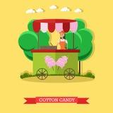 Vector Illustration der Zuckerwattelaufkatze und der Verkäuferin, flache Art Lizenzfreie Stockfotos