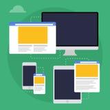 Vector Illustration des anpassungsfähigen Webdesigns auf verschiedenen Geräten Stockbild