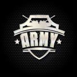 Vector Illustration des Armeemetallschildes auf einem schwarzen Hintergrund Stockbild