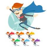 Vector Illustration des Bürosupermannfliegens vor seinem wo Lizenzfreie Stockfotos