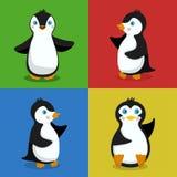 Vector Illustration des Babys mit vier Pinguinen für ein Gestaltungselement Stockbild