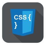 Vector Illustration des blauen Schildes mit css-Art und -kurven an Lizenzfreie Stockbilder