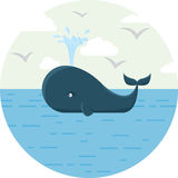 Vector Illustration des Blauwals mit dem runden Meer Stockfotografie