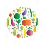 Vector Illustration des bunten Gemüses im modernen flachen Design Lizenzfreie Stockbilder