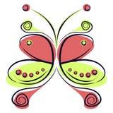 Vector Illustration des bunten roten und grünen Karikaturschmetterlinges, auf dem weißen backgound Lizenzfreie Stockbilder